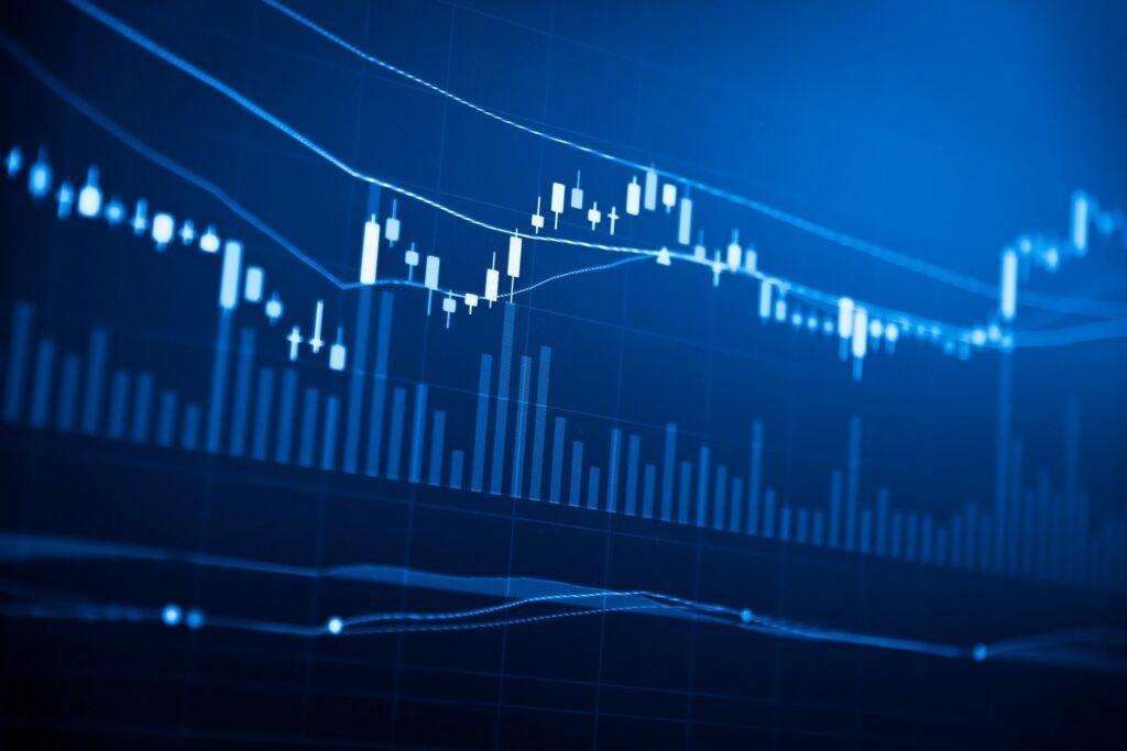 Blue financial line chart